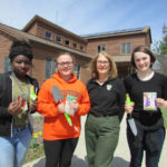 Keystone College students plant flowers at Lackawanna State Park