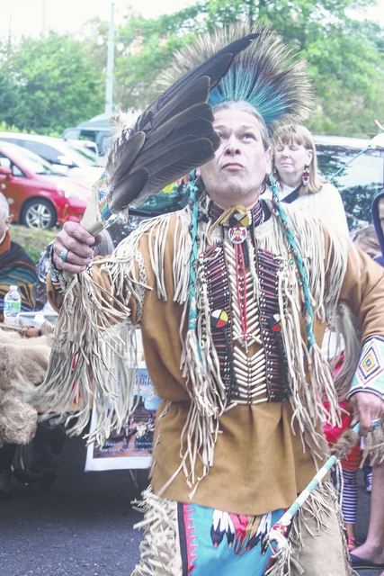 Robert Boldeagle performing a traditional Native American dance.