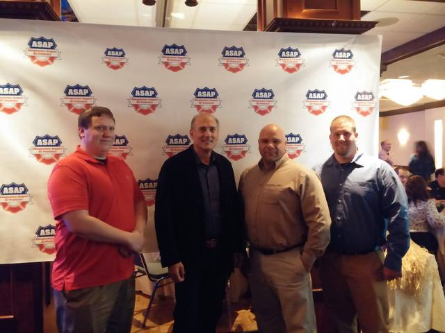 <p dir=&quot;ltr&quot;>Members of the Waverly Police Dept. are shown here with Congressman Tom Marino. From left, are Officer Gordon Demming, Congressman Tom Marino, Chief Kenny James, and Officer Angelo Rudolfi.