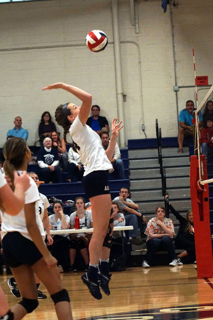 Abington Heights' Cassie Ksiazek had four kills during the Lady Comets' 3-0 win over Lackawanna Trail in a Lackawanna League girls volleyball match Sept. 8.