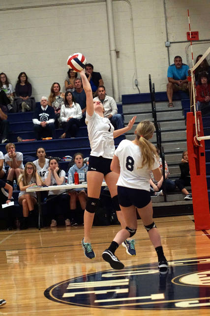 Abington Heights' Kaelee Whipple plays the ball during the Lady Comets' 3-0 win over Lackawanna Trail in a Lackawanna League girls volleyball match Sept. 8.
