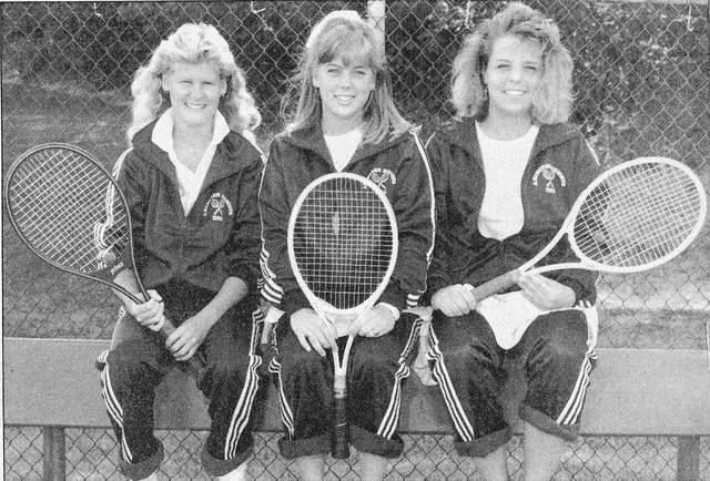 Abington Heights 1987 girls tennis team tri-captains, from left, Allison Lisk, Katherine Nalevanko and Tanya Stavisky.