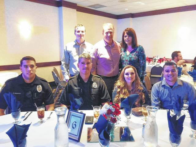<p dir=&quot;ltr&quot;>Local police officers enjoy the dinner together. From left, first row, are Officer Brian Newhart, of Clarks Summit Police Dept.; Officer Eric Williams, of Clarks Summit Police Dept.; Officer Alexis Cerchione, of Clarks Summit Police Dept.; and Officer Eric Hernandez, of The University of Scranton Police Dept. Second row, Chase Yarns with his parents, Chief Christopher Yarns, of Clarks Summit Police Dept., and his wife Amy.