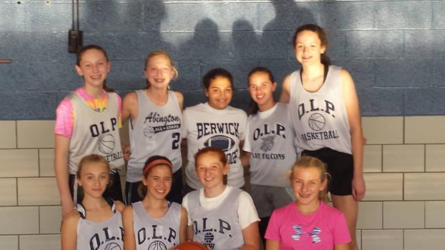 Members of this year's Our Lady of Peace School eighth-grade girls basketball team are, from left, first row, Mya Schimelfenig, Casey Healey, Caroline Murray and Natalya Gnall. Second row, Avery Mcnulty, Caroline Stampien, Angelesa DeNaples, Anna Kosierowski and Stephanie Yatko.