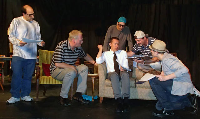 In rehearsal for Actors Circle's upcoming production of 'The Odd Couple' by Neil Simon are, from left, Jeff Ginsberg, Mark Fryer, David Hunisch, Tony Ranieli, Tom Malone and Christopher Alu.
