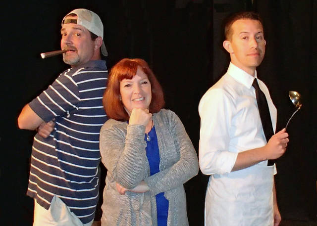 Cathy Rist Strauch, center, director of Actors Circle's upcoming production of Neil Simon's 'The Odd Couple' poses with the play's stars, from left, Tom Malone and David Hunisch.