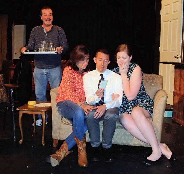 The Pigeon sisters appear in a scene with Oscar and Felix in Actors Circle's production of 'The Odd Couple.' From left, Tom Malone, Susan Parrick, David Hunisch and Meggie Roche practice their parts.