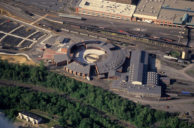 An aerial view of Steamtown National Historic Site in Scranton.