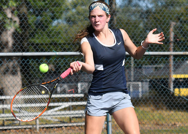 Abington Heights No. 1 singles player Lauren Carroll battled Williamsport's Katie Meale in District 2-4 Class 3A semifinal action. Abington Heights defeated Williamsport and will play Hazleton Area in the finals. (Tony Callaio | For Abington Journal)