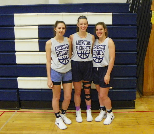 Captains of the Abington Heights girls basketball team are, from left, Sharon Houlihan, Cassie Ksiazek and Hannah Kowalski.