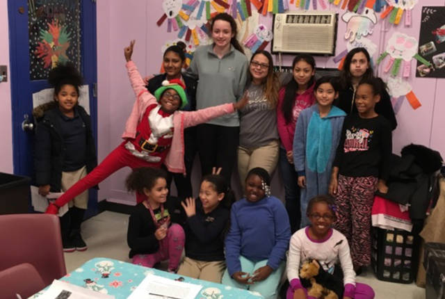 The girls STEM class at the Boys and Girls Clubs.