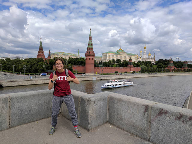 Abington Heights graduate Claire Traweek poses in front of the Moscow Kremlin during her summer internship in Russia.