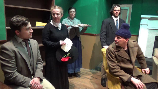 Actors Circle will present 'Sherlock Holmes and The Curse of the Sign of Four or The Mark of the Timber Toe,' a Victorian melodrama by Dennis Rosa, Jan. 25-28 and Feb. 1-4 at Providence Playhouse in Scranton. Cast members are, from left, George Conrad, Kelly Kapacs, Lorrie Loughney, Scott Rave and Tony Ranieli take their places at a recent rehearsal.