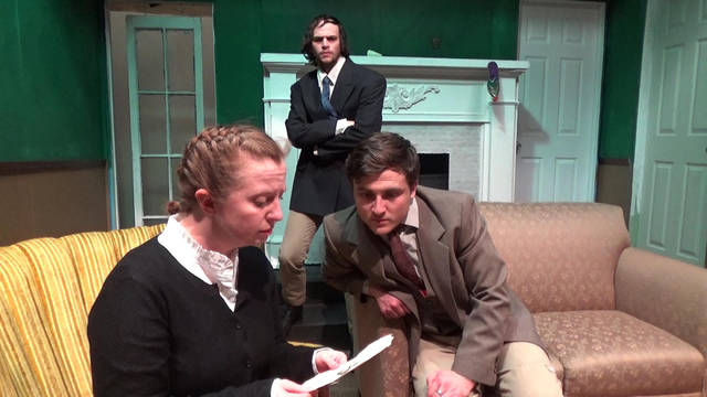 Kelly Kapcs, left Scott Rave and George Conrad are shown at a recent Actors Circle rehearsal.