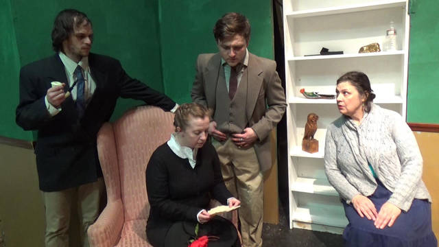 Shown during rehearsal for Actors Circle's upcoming play are, from left, Scott Rave, Kelly Kapacs, George Conrad and Lorrie Loughney.