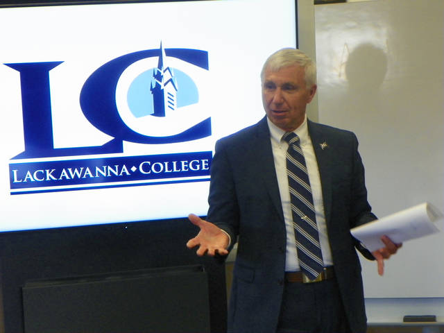 Lackawanna College President Mark Volk discusses the Level Up Lackawanna program, geared toward encouraging and accelerating post-secondary degree completion, during a roundtable discussion with several school districts April 5.