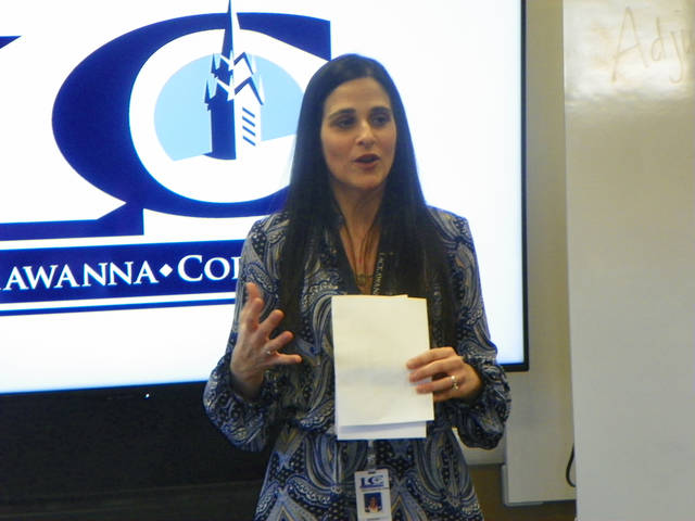 Lackawanna College Vice President for Academic Affairs & Chief Academic Officer Erica Barone-Pricci outlines the specifics of the Level Up Lackawanna program during a roundtable discussion with several school districts April 5.