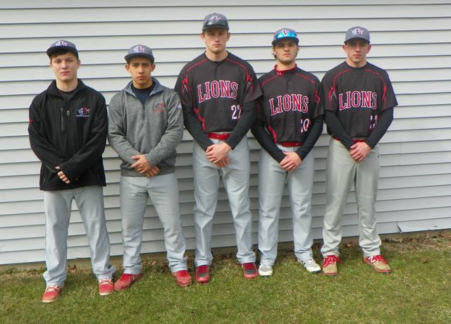 Returning starters for the Lackawanna Trail baseball team are, from left, D.J. Klinges, Thomas Kohinsky, Nate Rolka, Noah Coleman and Jordan Edwards.