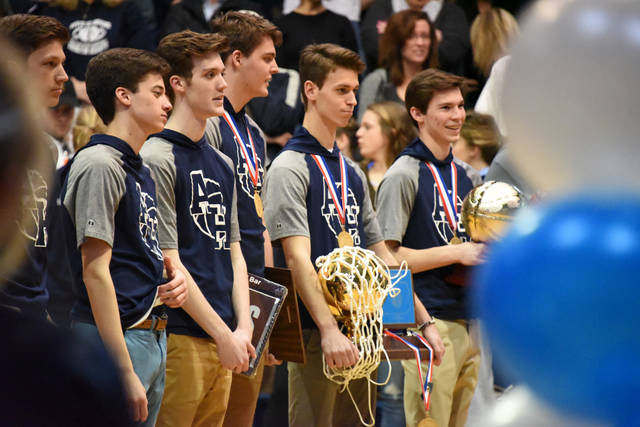 The Abington Heights boys basketball team was recognized for winning the state title during a Night of Champions at the high school April 4.