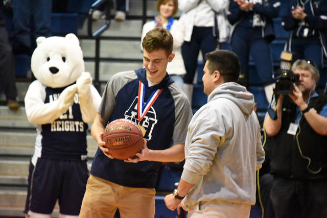 Abington Heights senior basketball player Jackson Danzig was recognized for scoring the 1,000th point of his high school career during a Night of Champions April 4.