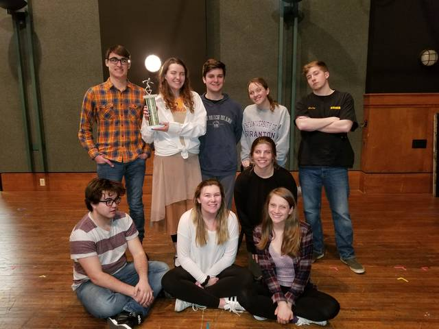"Rehearsing for the University of Scranton Players rendition of ""The 25th Annual Putnam County Spelling Bee"" are, from left, first row, Nicolas Gangone, Reilly Charles, Colleen Boyle, and Ali Basalyga. Second row, Zachary Richard, Victoria Pennington, Jacob Feeney, Emily DeMouth and Conor Hurley."