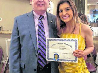 Abington Lions Club awards scholarship to Amber Kusma