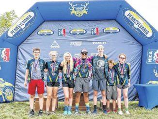Brynn Carey, Hannah Puttcamp of Abington Heights, lead Keystone Mountain Bike team
