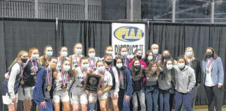 The Abington Heights girls basketball team celebrated a title at the Mohegan Sun Arena at Casey Plaza for the fifth time in six years.                                  Tom Robinson | For Abington Journal