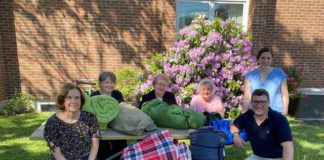 Catherine McAuley Center volunteers and staff plan for 'Where Will I Sleep Tonight,' from left: Jenny Blanchard, Sr. Kathleen Smith, Sr. Leonita Duhoski, Sr. Therese Marques, Krista Somers (standing) and Daniel King.                                  Submitted photo