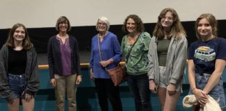 """Margie and her daughter and granddaughters talk to Dr. Meg Hatch after the """"Birder's Guide to Everything"""" event. From left are Sarah Scheidler, Dr. Meg Hatch, Margie Young, April Scheidler, Mary Scheidler, and Ada Scheidler.                                  Submitted photo"""