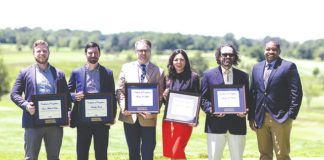 Pictured are graduates from the Leadership Lackawanna Core Program at the Celebration of Leadership event. From left to right: Sean Ritter, Fancy Parsley Architecture+Design; Timothy Frank, Educational Opportunity Centers, Inc.; Tom Zurla, FNCB Bank; Stephanie Abraham, FNCB Bank; Francis Wanat, Tobyhanna Army Depot; and Kenrick Brewster, Greater Scranton YMCA.                                  Submitted photo