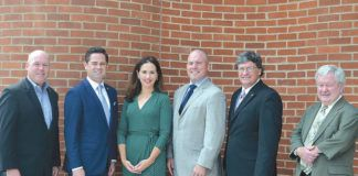 From left to right, Bob Durkin, president, The Greater Scranton Chamber of Commerce; Rep. Kyle Mullins; Rep. Bridget M. Kosierowski; Senator Marty Flynn; Rep. Mike Carroll; and P. Timothy Kelly, Esq., Needle Law, attend a meeting and luncheon at the Chamber.                                  Submitted photo