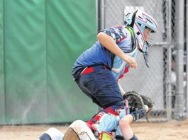 Connor Kalinoski is safe at home for Abington as he slides under Greater Pittston Area's catcher Jacoby Harnen.                                  Tony Callaio | For Abington Journal