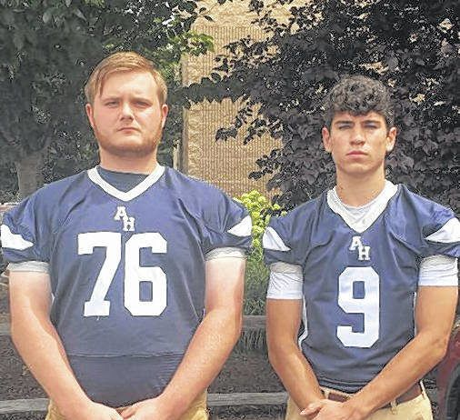 Seniors Christian Lezinski, left, and P.T. Cutrufello represented Abington Heights during Tuesday's Lackawanna Football Conference Media Day at the Regal Room in Olyphant.
