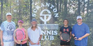 Pictured are finalists from the Scranton Tennis Club's Labor Day Blind Draw Mixed Doubles title, from left, John Weiss, tournament director; Nastashia DeNunzio and Phil Mercurio, champions; and Gabby Chantiloupe and John Sinclair, runners-up.                                  Submitted photo