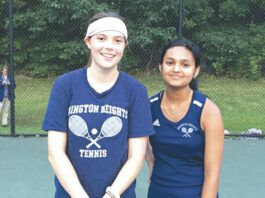 Bernie Mullin, left, and Elina Joshi came up with the deciding three-set victory in a battle of unbeatens against Riverside.                                  Tom Robinson | For Abington Journal