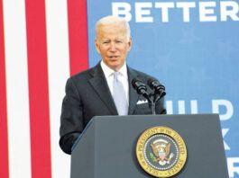 President Joe Biden speaks outside the Electric City Trolley Museum in Scranton on Wednesday afternoon.                                  Patrick Kernan | Times Leader